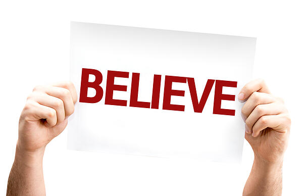 Believe card isolated on white background